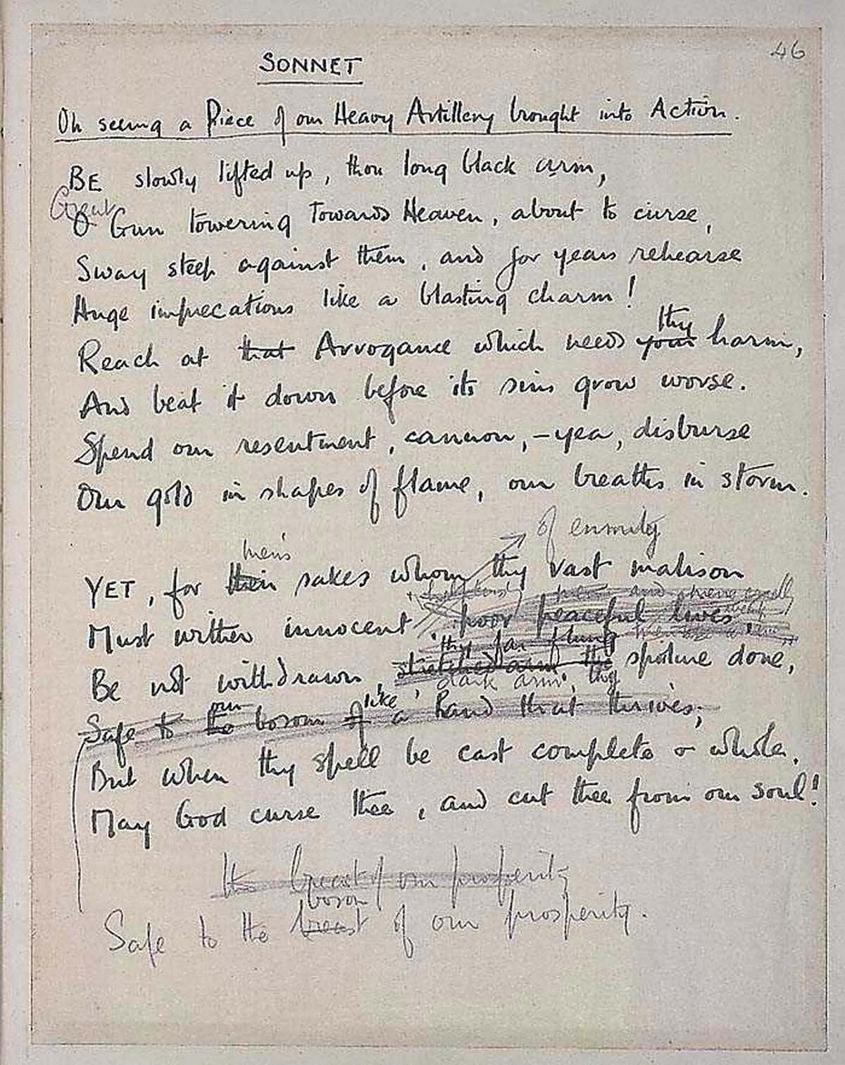 Original Copy of Wilfred Owen Sonnet On Seeing